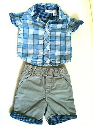 2 Pc First Impressions Baby Boy Shorts & Button Down Shirt Checked Size 3-6 Mon