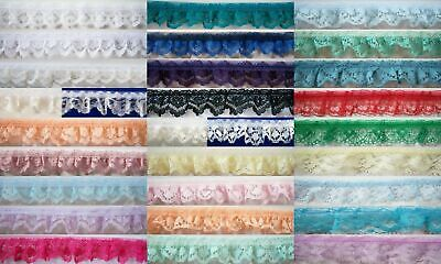 """Ruffled/Gathered/Pleated 3/4"""" Nylon Laces Per 3 Yards Color Choice"""