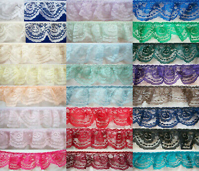 """Ruffled/Gathered 2"""" Nylon Solid Lace Per 3 Yards Color Choices"""
