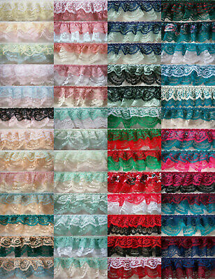 """Double Ruffled/Gathered 2"""" Nylon Lace Per 3 Yds. Solid or Print 52 Color Choices"""
