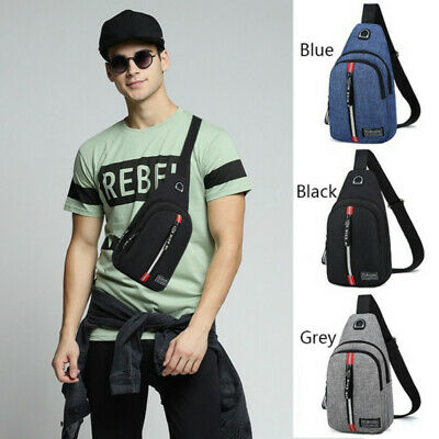 Men Nylon Adjustable Shoulder Strap Crossbody Chest Bag Casual Chest Pack