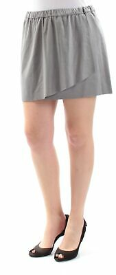 KENSIE $59 Womens New 1296 Gray Faux Suede Mini A-Line Casual Skirt M B+B