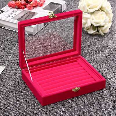 Pro Velvet Glass Jewelry Ring Display Organizer Earring Storage Box Tray Holder