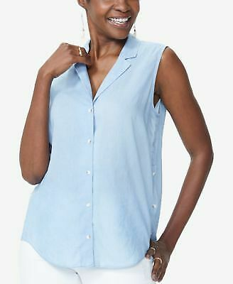 NYDJ $59 Womens New 1186 Light Blue Button Front Sleeveless V Neck Top XL B+B
