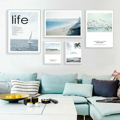 Scandinavian Style Sea Beach Landscape Nordic Poster Wall Art Canvas Prints
