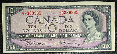 Bank of Canada 1954 $10 Dollar Banknote Beattie Rasminsky J/V 9389965