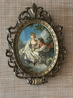 Vintage Ornate Brass Picture Frame With Oval Glass Made In Italy