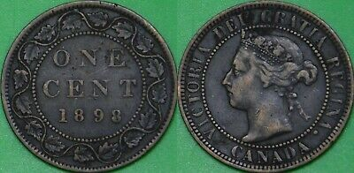 1898 Canada (H Mark) Victoria Bust Large 1 Cent Graded as Very Fine