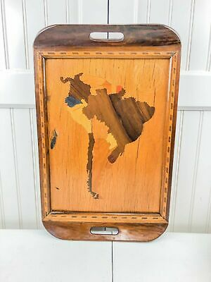 Vintage Inlay Wood Serving Tray With Map Of South America Rio De Janeiro Brazil