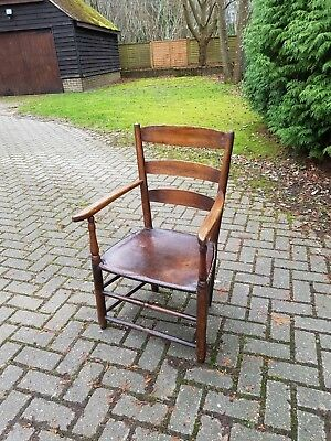 Small 18th Century Georgian Provincial Chair with Leather Seat
