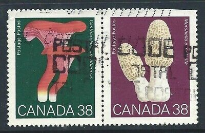 Canada 1989 Mushrooms 38c x 2 se-tenant used stamps