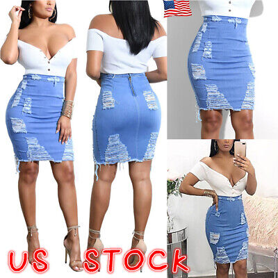 closer at lowest discount best quality PLUS SIZE WOMEN High Waist Ripped Denim Skirt Lady Bodycon ...
