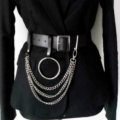 Women's Sexy Faux Leather Layer Chain Belt Punk Big Round Ring Belt Metal Hoop