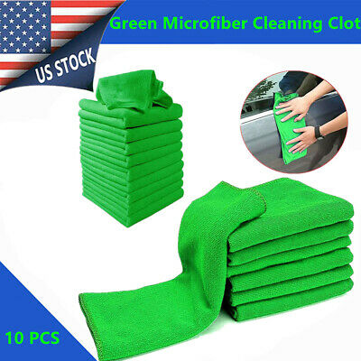 10 Micro Fiber Auto Car Detailing Cleaning Soft Cloth Towel Duster Wash Green US