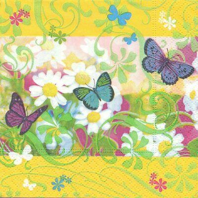 Lot de 3 Serviettes en papier Cocktail Papillons Fleurs Decoupage Decopatch
