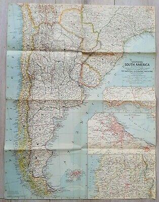 National Geographic Map of Southern South America. (March, 1958).