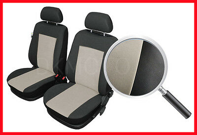 CAR SEAT COVERS pair for front seats fit Peugeot 207 - black/beige