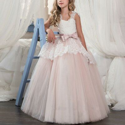 Flower Girl Kid Lace Princess Birthday Party Ball Gown Prom Formal Wedding Dress