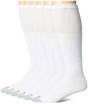 Hanes Men's 6 Pack Over-the-Calf Tube Socks White 10-13 Shoe Size 6-12