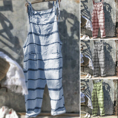 Women Striped Overalls Loose Dungarees Jumpsuit Playsuit Long Pants Oversized UK