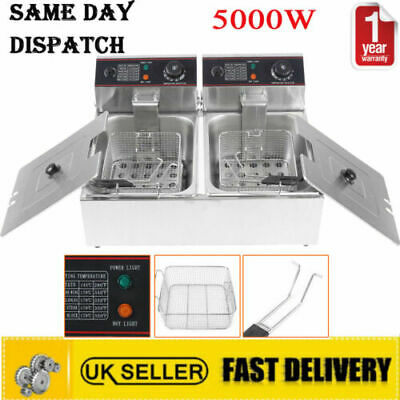 6L*2 12L Commercial Fryer Electric Twin Basket Double Tank Fish Chips HX-82A 5KW