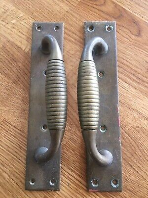 Matched Pair Vintage Brass Beehive Pull Door Handles with 8.5 Inch Back Plates