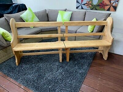 Church Pew Antique Solid Huon Pine Wooden Bench Seat Rustic VGC.