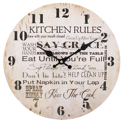 Kitchen Rules Vintage Cream Novelty Rustic Style 34cm Large Wall Clock