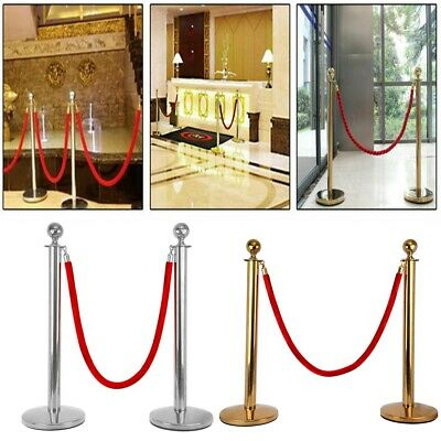 2× Queue Barrier Posts Crowd Control Security Stanchion w/1.5m Rope Gold/Sliver