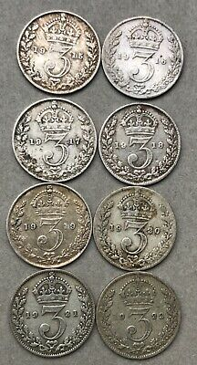 8 Silver George V Three Pence Coins 1915 – 1922 Consecutive