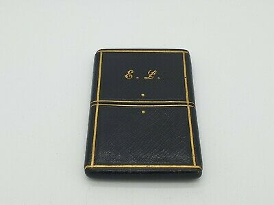 ANTIQUE LEATHER CARD CASE WITH MONOGRAM c.1920