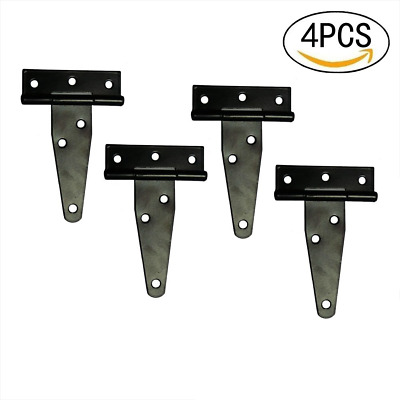 T&B T-Strap Light Duty Shed Hinge Gate Strap Hinge Door Barn Gates Hinges Black