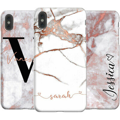 Case Cover For Apple Iphone Xs Max Xr 7 Plus Initials Personalised Marble Phone