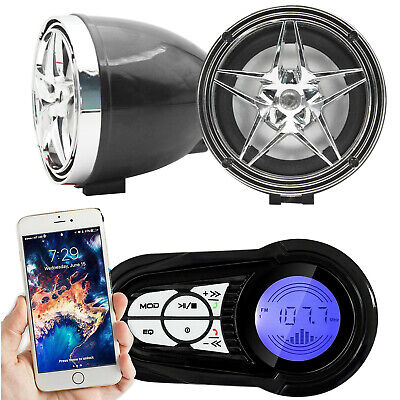 Bluetooth Motorcycle Handlebar Audio Amplifier Stereo Speaker System MP3 USB/SD