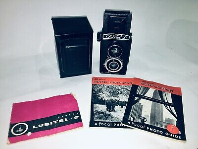 Vintage Lubitel 2 TLR Medium Format Film Camera + Case Manual and Vintage Guides