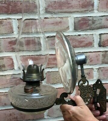Vintage Antique Victorian Fancy Cast Iron Kerosene Wall Bracket Lamp w/Reflector