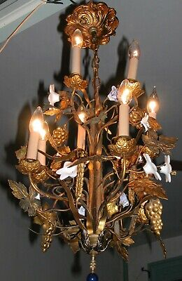Antique Italian Gilt Tole Chandelier Porcelain Flowers Grapes Vine Leaf 10  Lamp