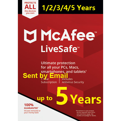 Mcafee LiveSafe  2019 Unlimited Devices 1/2/3/4/5 Years New or Renewal