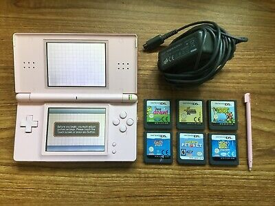 Nintendo DS Lite Coral Pink Handheld Console Bundle +6 Games & Charger