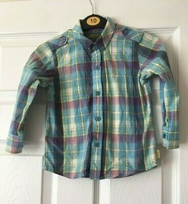 Boys Ted Baker Blue Yellow Check Long Sleeve Shirt Age 2-3 Years Zip Button B64