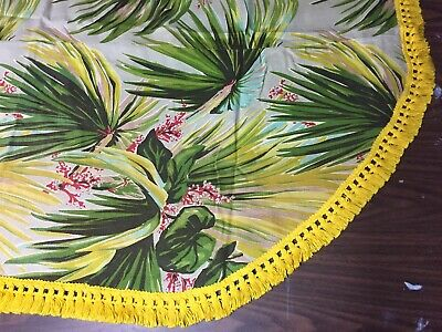 Vintage 40s Hawaiian Tropical Palms Tiki Barkcloth Oval Tablecloth Hula Tassels