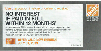 The Home Depot Offer 12 month No interest paid Financing on purchase