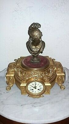 Antique large French mantle clock gilt metal Mercury Roman lions feet circa 1880