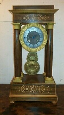 Antique French Napoleon 1er Empire bronze rose wood marquetry mantle clock 1820s