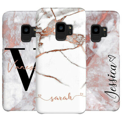 Case Cover For Samsung Galaxy S8 S9 S10 Plus Initials Personalised Marble Phone
