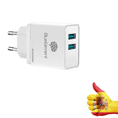 Cargador Adaptador Doble 2 USB Red Blanco Enchufe 3.1 Amperios Smartphone Blanco