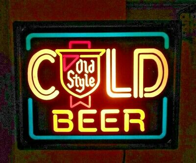 Vintage Old Style Cold Beer Sign Light, Heileman Brewery- neon looking!