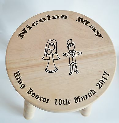 Customised Wooden Milking Stool for Ring Bearer - wedding... free engraving