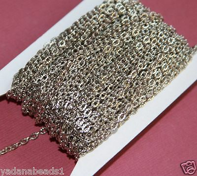 45ft of Antiqued Silver Texture Cable Chain 2x3mm, Bulk chain
