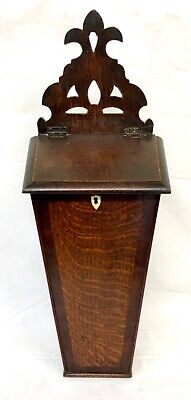 Antique GEORGIAN Oak & Mahogany Candle / Salt Box / Trinket Box / Key Storage